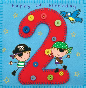 Age 2 Pirate Birthday Card TW254